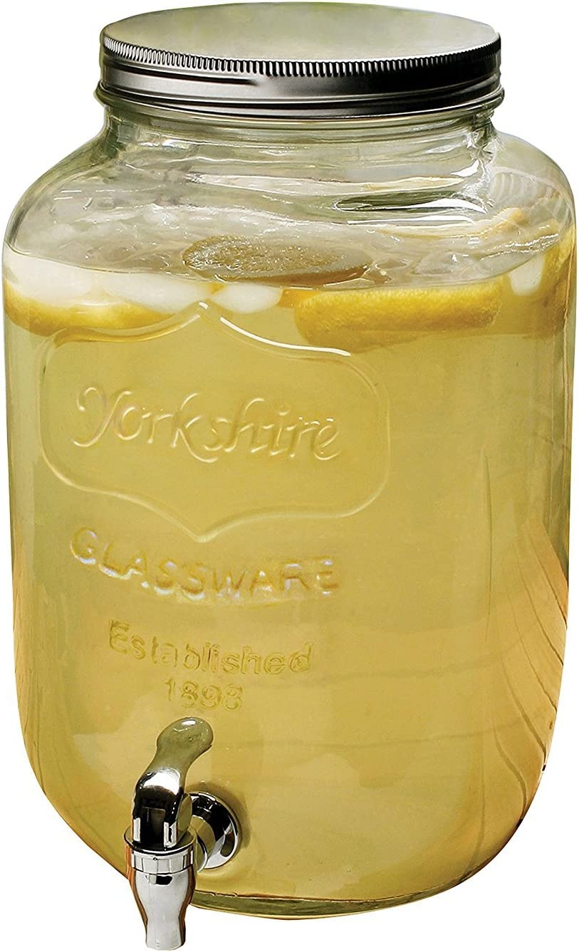 Circleware Yorkshire Sun Tea Mason Jar Glass Beverage Drink Dispenser with Metal Lid, 2 Gallon, Limited Edition Glassware