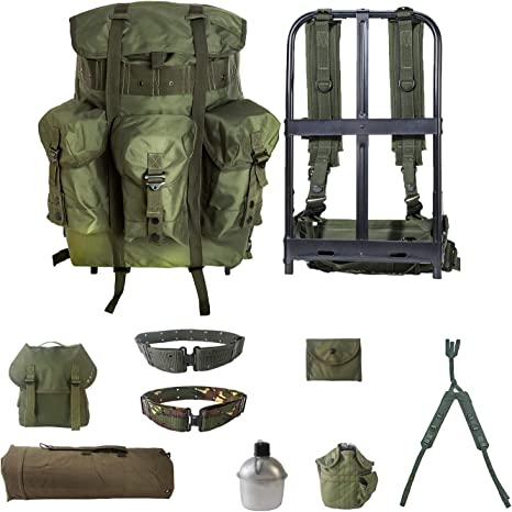 Olive Tactical Field Pack Messenger Bag Strap Military Army Hiking Gear Backpack