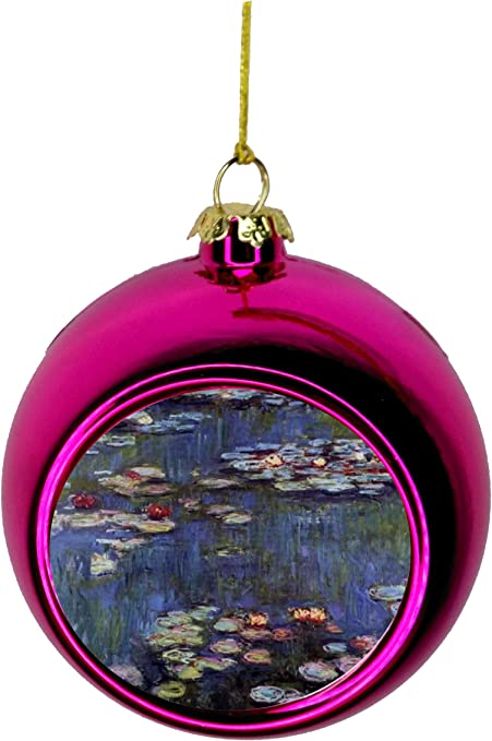 Artist Claude Monet S Water Lilies Painting Bauble Christmas Ornaments Pink Bauble Tree Xmas Balls Home Kitchen