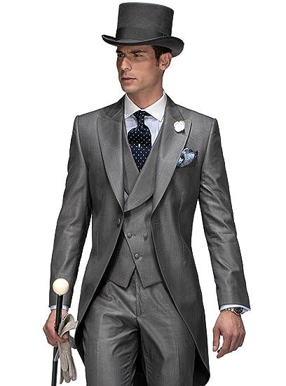 Kelaixiang Groom Suit for Wedding Grey Silver Tuxedo 3 Pieces Tailored