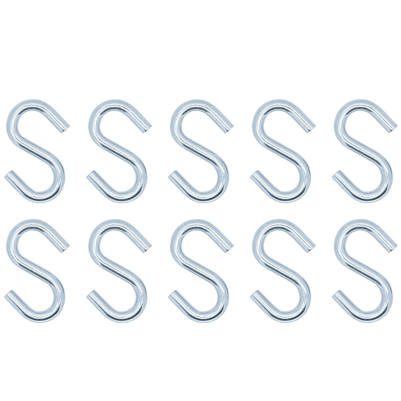 Pack Of 10 Zinc S Hooks | 45mm White Hinge