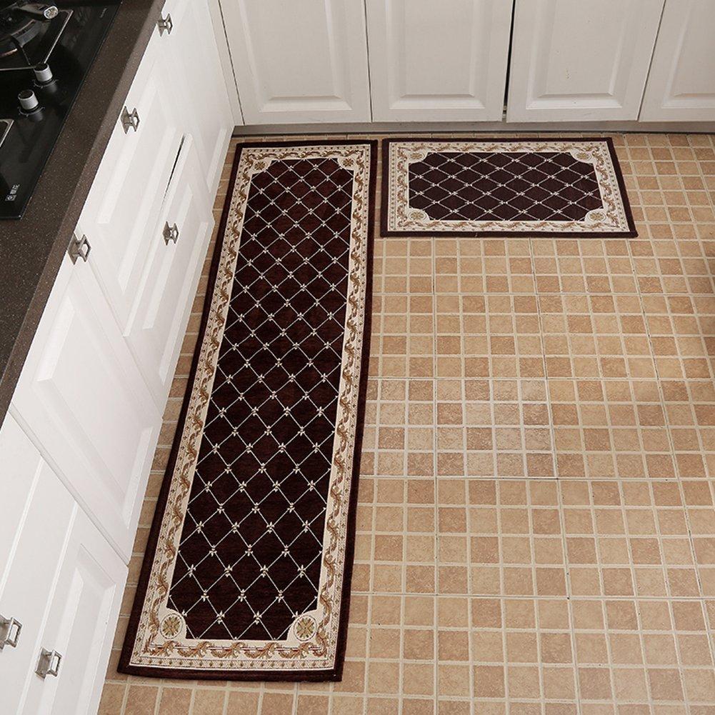 "KEYAMA 1 piece High-grade (20"" Wx31 L) Brown Grid Acrylic Non-Slip Home Kitchen Floor Comfort Mat Home Decorative area Rugs Hallway Room aisle decorative Runner Fashion Doormat."