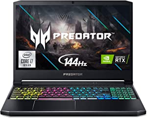 "Acer Predator Helios 300 Gaming Laptop, Intel i7-10750H, NVIDIA GeForce RTX 2060 6GB, 15.6"" Full HD 144Hz 3ms IPS Display, 16GB Dual-Channel DDR4, 512GB NVMe SSD, WiFi 6, RGB Keyboard, PH315-53-72XD"