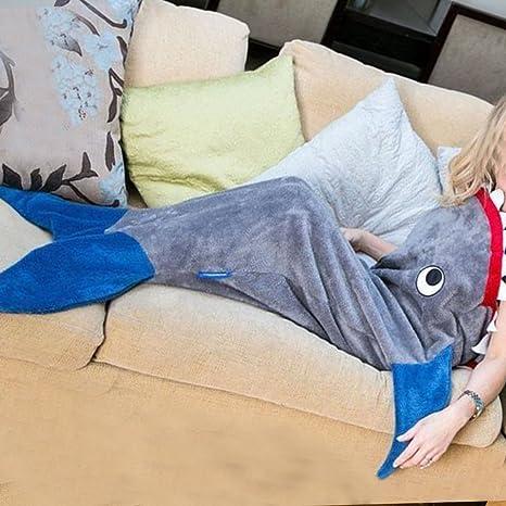 Niños tiburón cola de sirena manta polar suave snuggle-in sofá cama saco de dormir