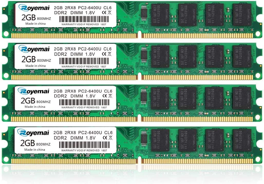 8GB Kit (4x2GB) DDR2 800 Udimm RAM, ROYEMAI DDR2-800 mhz PC2-6400 /PC2-6400U DDR2 2GB 1.8V CL6 240 Pin Non-ECC Unbuffered Desktop RAM Memory Modules