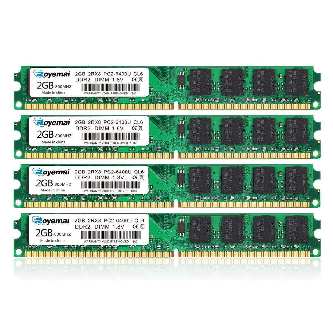 Memoria RAM 4GB Kit (2x2GB) DDR2 800 Udimm ROYEMAI DDR2-800 mhz PC2-6400 /PC2-6400U DDR2 2GB 1.8V CL6 240 Pin Non-ECC Un