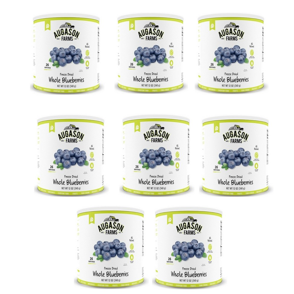 Augason Farms Freeze Dried Whole Blueberries 12 oz No. 10 Can (8 pack)