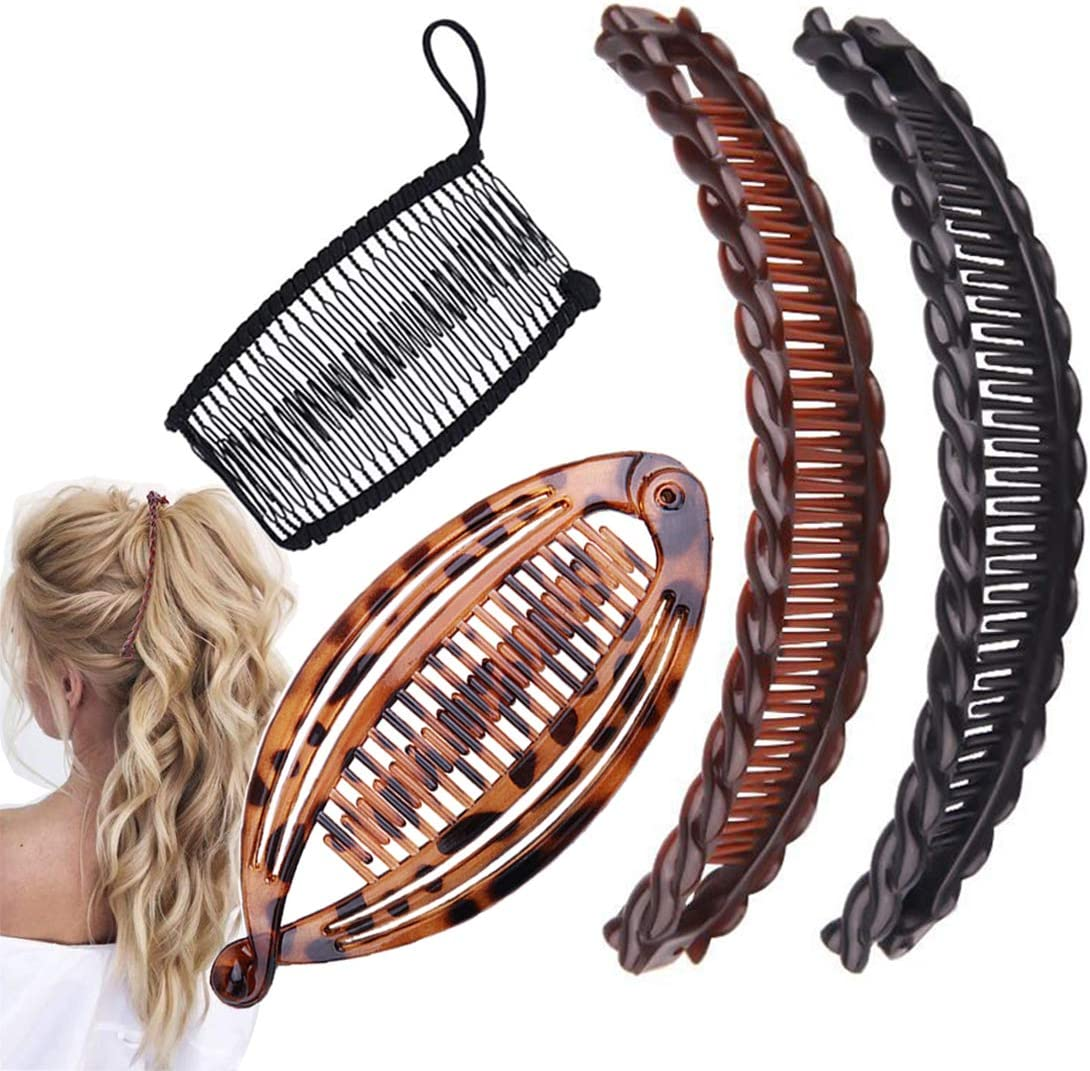 Aaiffey 9pcs Banana Hair Clips Vintage Clincher Combs Tool for Thick Curly  Hair Accessories Fish Shape Ponytail Holer Claws Grips Clamp Clip Claws Set  ...