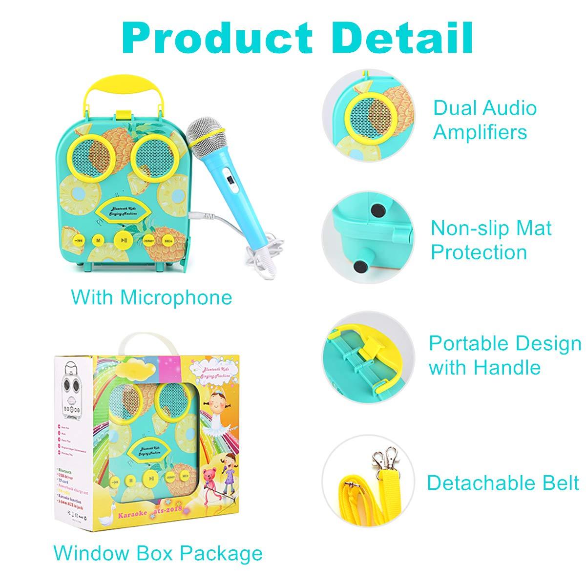 Kids Karaoke Machine with Microphone, Bluetooth Rechargeable Kids Handbag Karaoke Music Player Toy Children MP3 Player Loudspeaker with Microphone (Handbag Green) by Kidsonor (Image #3)