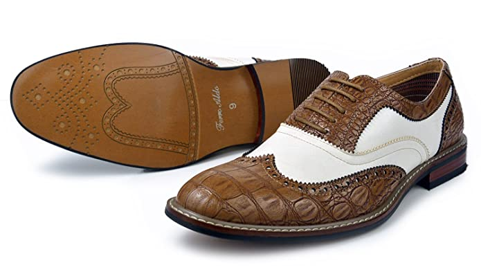 1940s Style Mens Shoes Causal Wingtip Oxfords Modern Spectator Style  AT vintagedancer.com