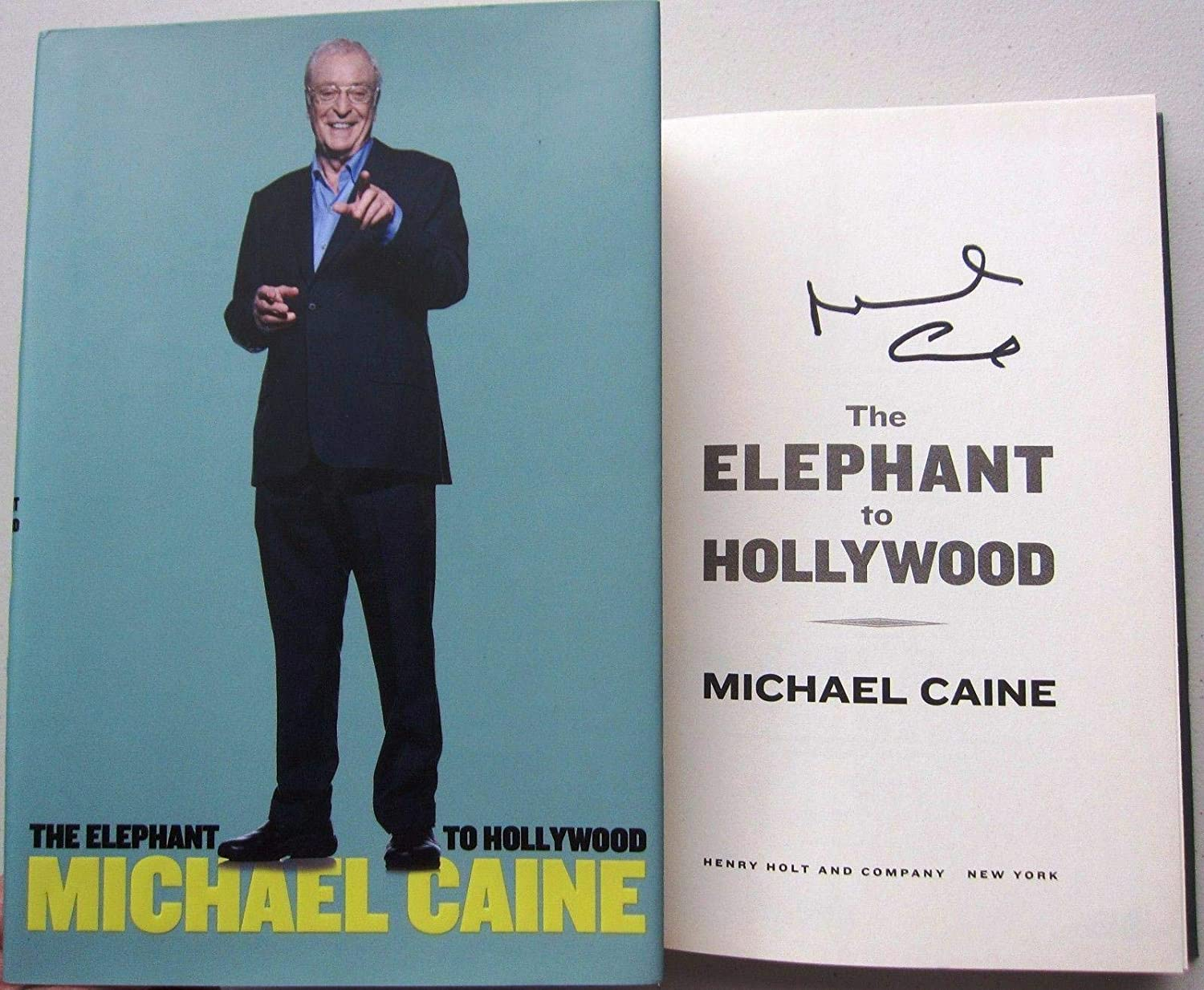 Michael Caine signed Book Elephant to Hollywood 1st Ed Beckett BAS Authentic