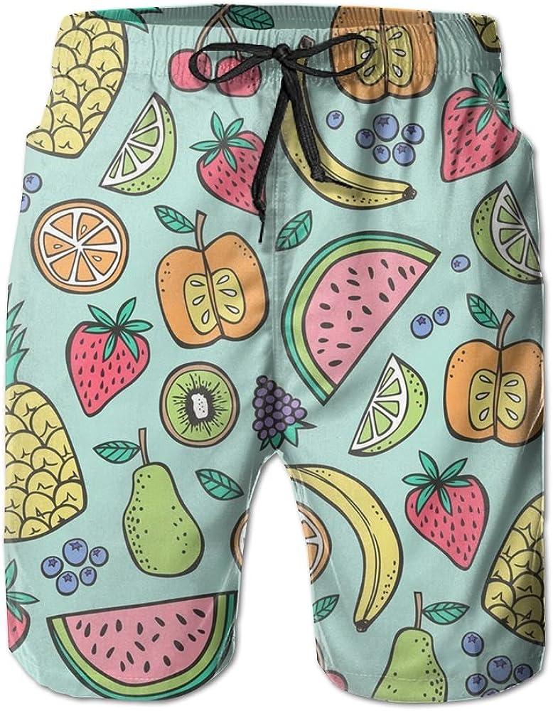 KIOT156 Pineapple Strawberry Watermelon Mens Summer Breathable Swim Trunks Beach Shorts Cargo Shorts