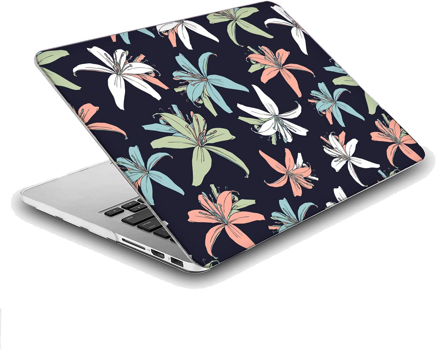 Compatible with MacBook Air 13 inch Hard Plastic Shell Cover Case A1932, 2019 2018 Release Vintage Flower Tiger Lily Floral Pattern