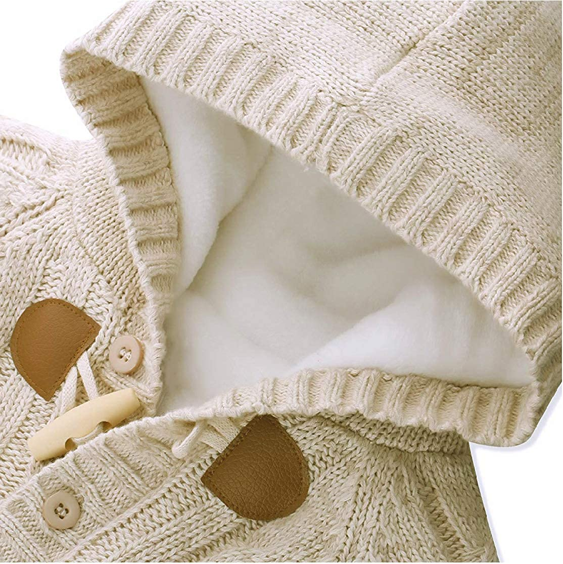 JGJSTAR Baby Toddler Boys Girls Hooded Cable Knit Cardigan Sweater Cotton Warm Christmas Jacket Coat Outwear