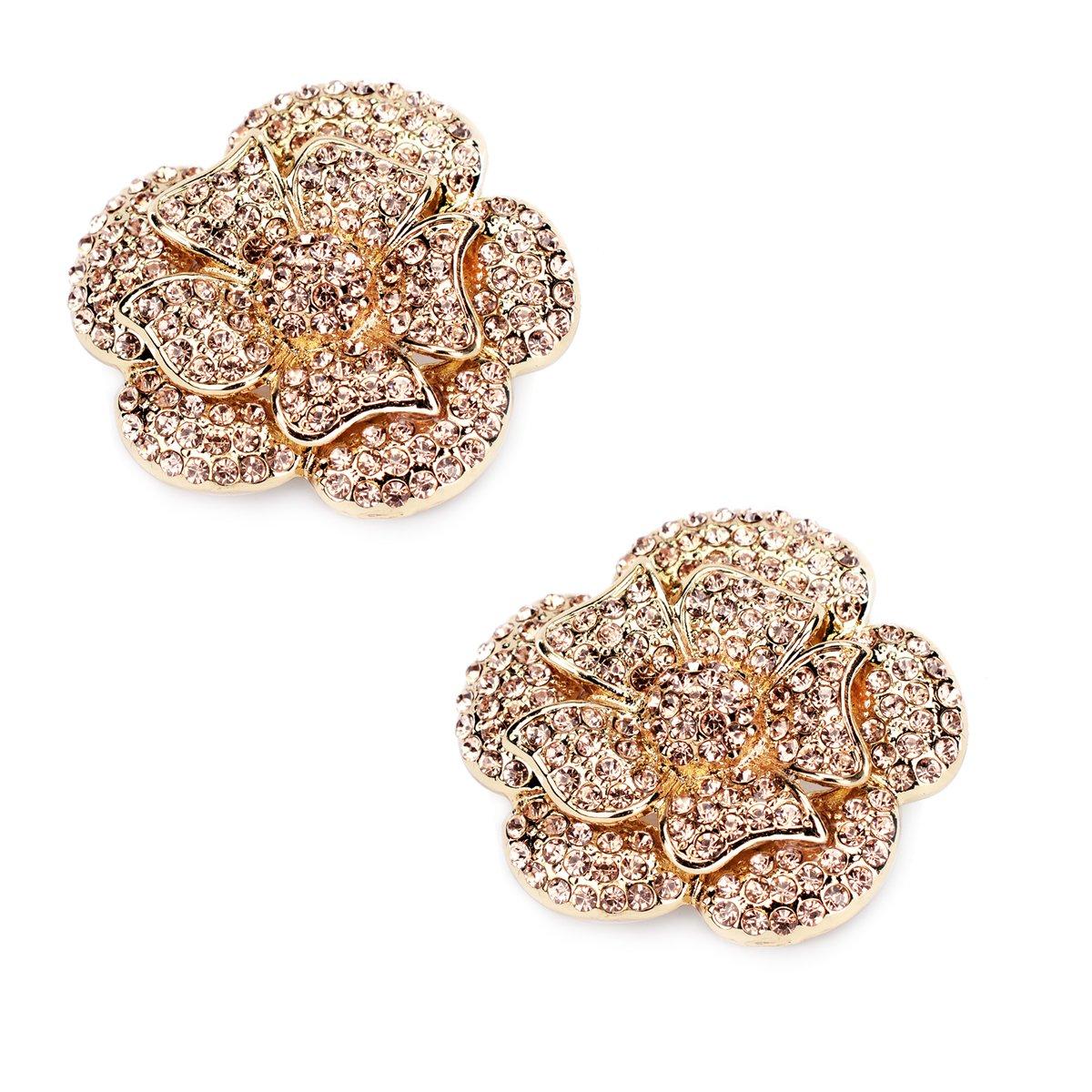 ElegantPark AF Rhinestones Rose Flower Decoration Wedding Party Gold Shoe Clips 2 Pcs