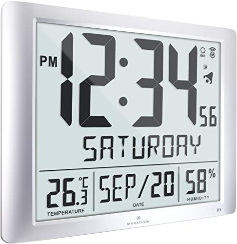 Marathon Super Jumbo Atomic Full Calendar Wall Clock