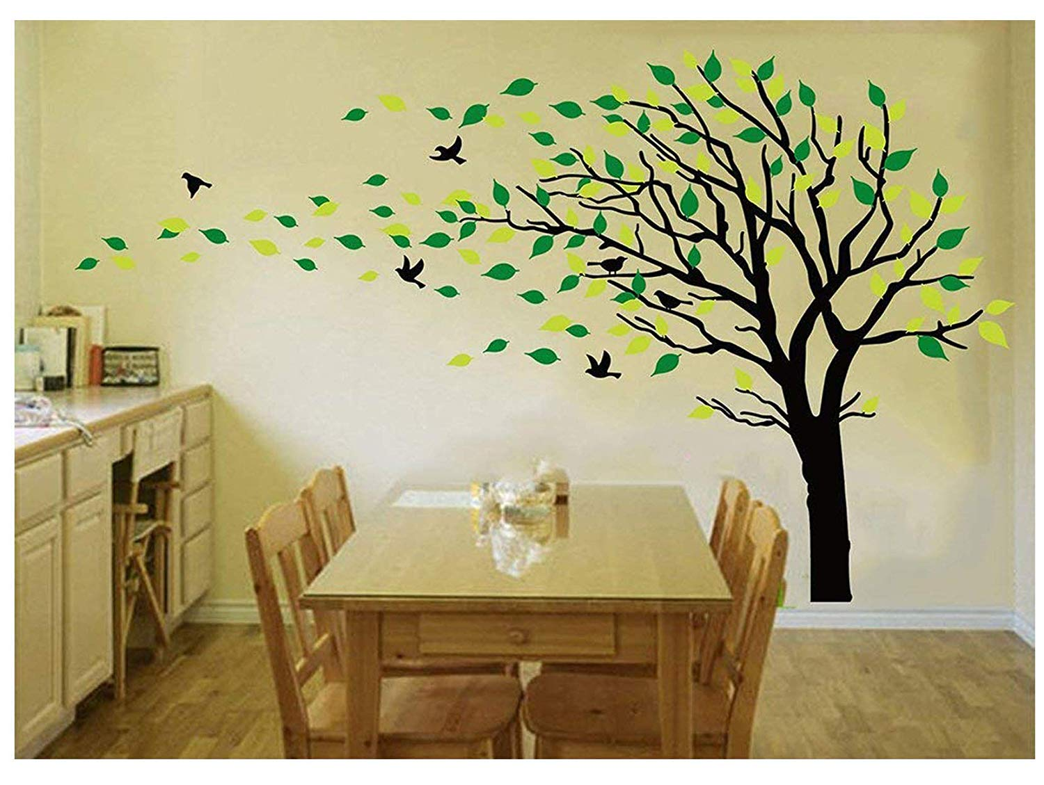 Amazon.com: LUCKKYY Tree Blowing in The Wind Tree Wall Decals Wall ...