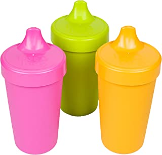 product image for Re-Play Made in USA 3pk No Spill Sippy Cups for Baby, Toddler, and Child Feeding in Bright Pink, Lime Green and Sunny Yellow | Made from Eco Friendly Milk Jugs - Virtually Indestructible (Pink Asst.)
