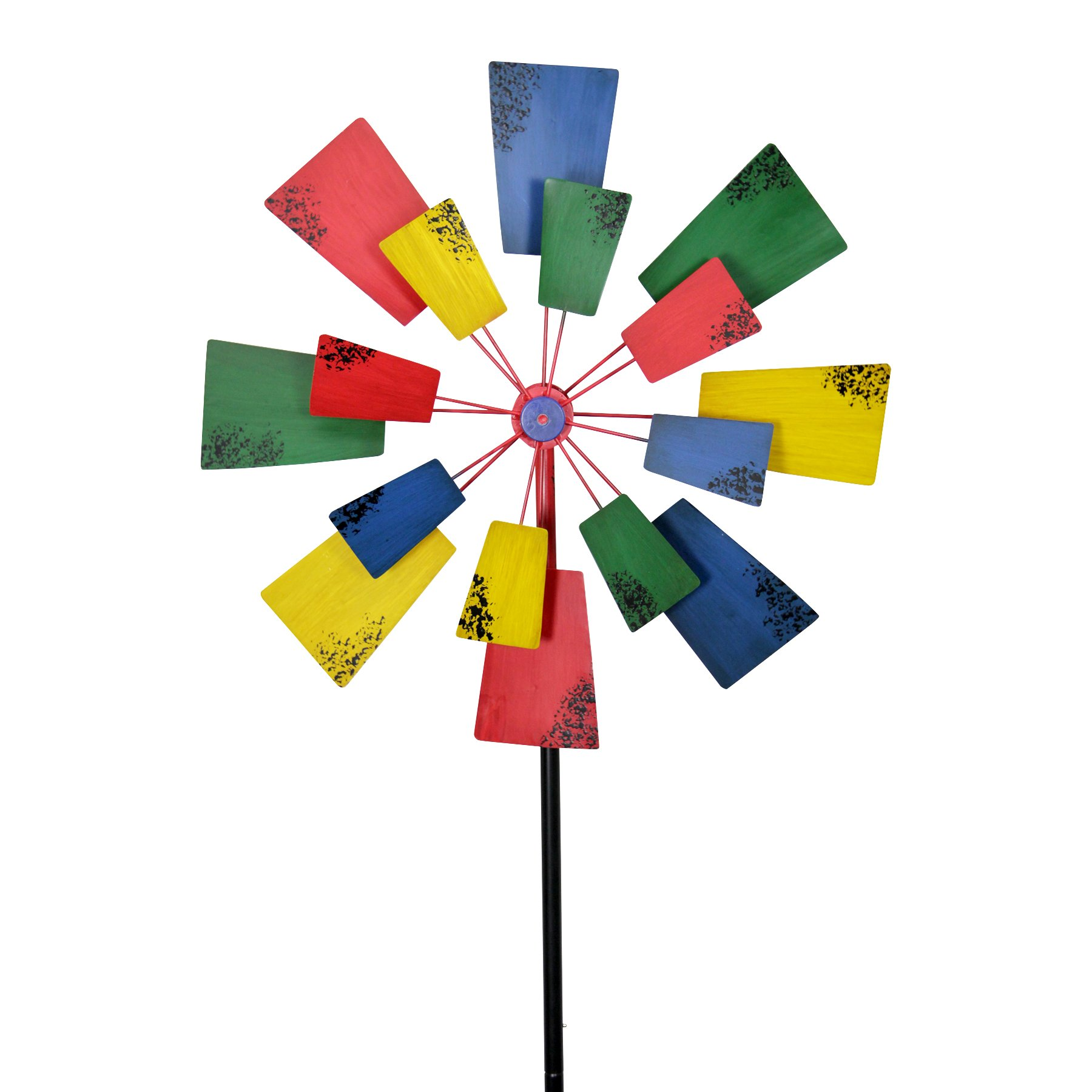Exhart Vintage Windmill Double Spinner Garden Stake - Pinwheel Outdoor Decor w/Multicolor Metal Spinners - Garden Windmill with Metal Blades in Red, Blue, Yellow and Green Color, 24'' L x 23'' W x 85`''H