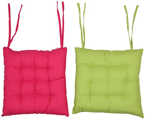 CPM Handlooms Cotton Plain Chair Pad (Pink and Green, 40x40cm) - Pack of 2 Cushions at amazon