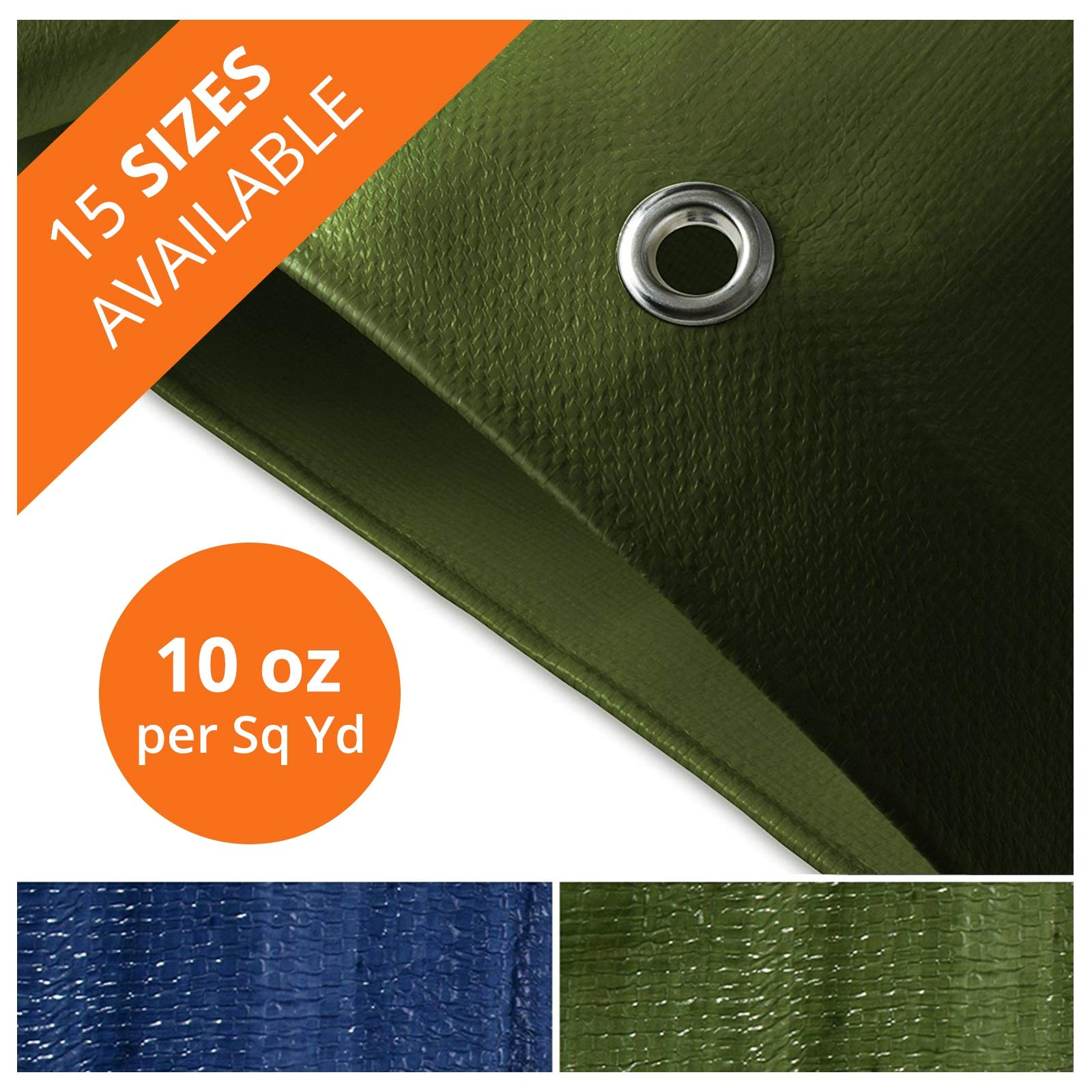Tarps Heavy Duty Waterproof | Ground Tent Trailer Cover | Large Tarpaulin in Multiple Sizes | 10 oz/Sq Yd | Green - 12' x 14'