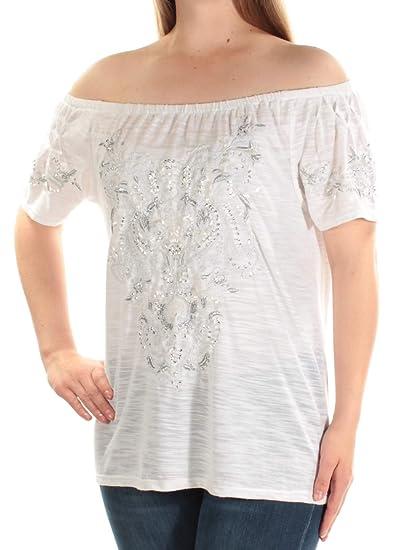 3999129ea9bec7 INC Womens Slub Embellished Casual Top at Amazon Women s Clothing store