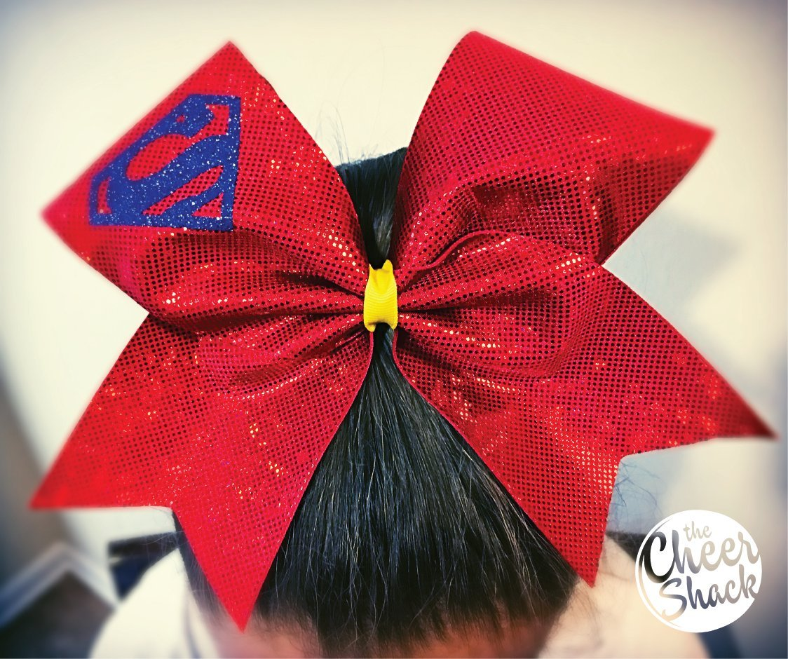 Red Bow with Superman Logo,Cheer Bow, Hair Bow