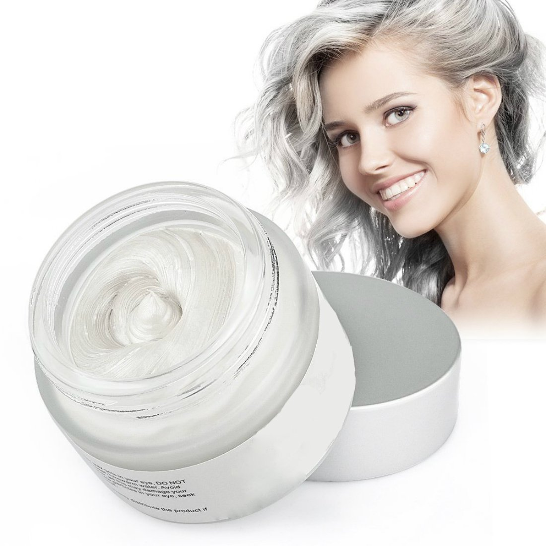 Mofajang Hair Wax Color Dye Styling Cream Mud Natural Hairstyle Pomade Washable Temporary (White)