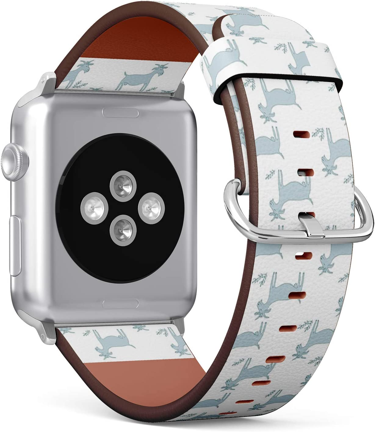 Compatible with Small Apple Watch 38mm & 40mm - (Series 5, 4, 3, 2, 1) Leather Watch Wrist Band Strap Bracelet with Stainless Steel Clasp and Adapters (Goats On)