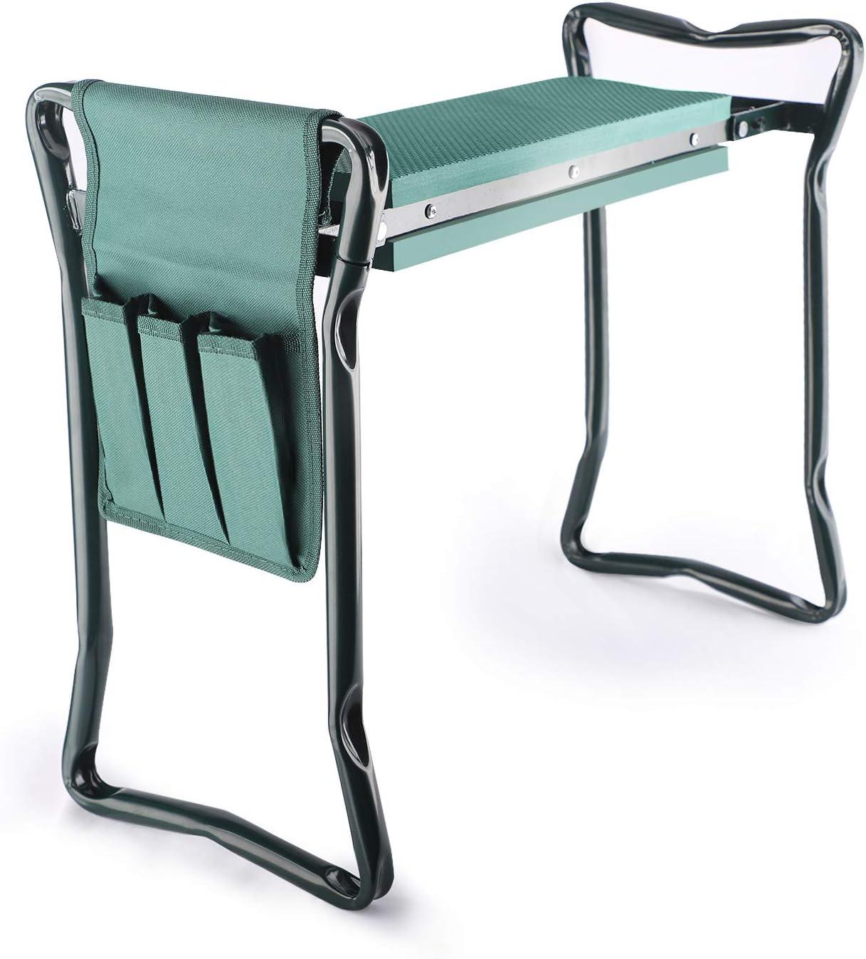 DEKOOL Garden Kneeler and Seat with Tool Pouch, 2 in 1 Foldable Garden Bench with Soft EVA Foam Kneeling Pad, Portable Kneeler Seat for Gardening, Outdoor Garden Stool