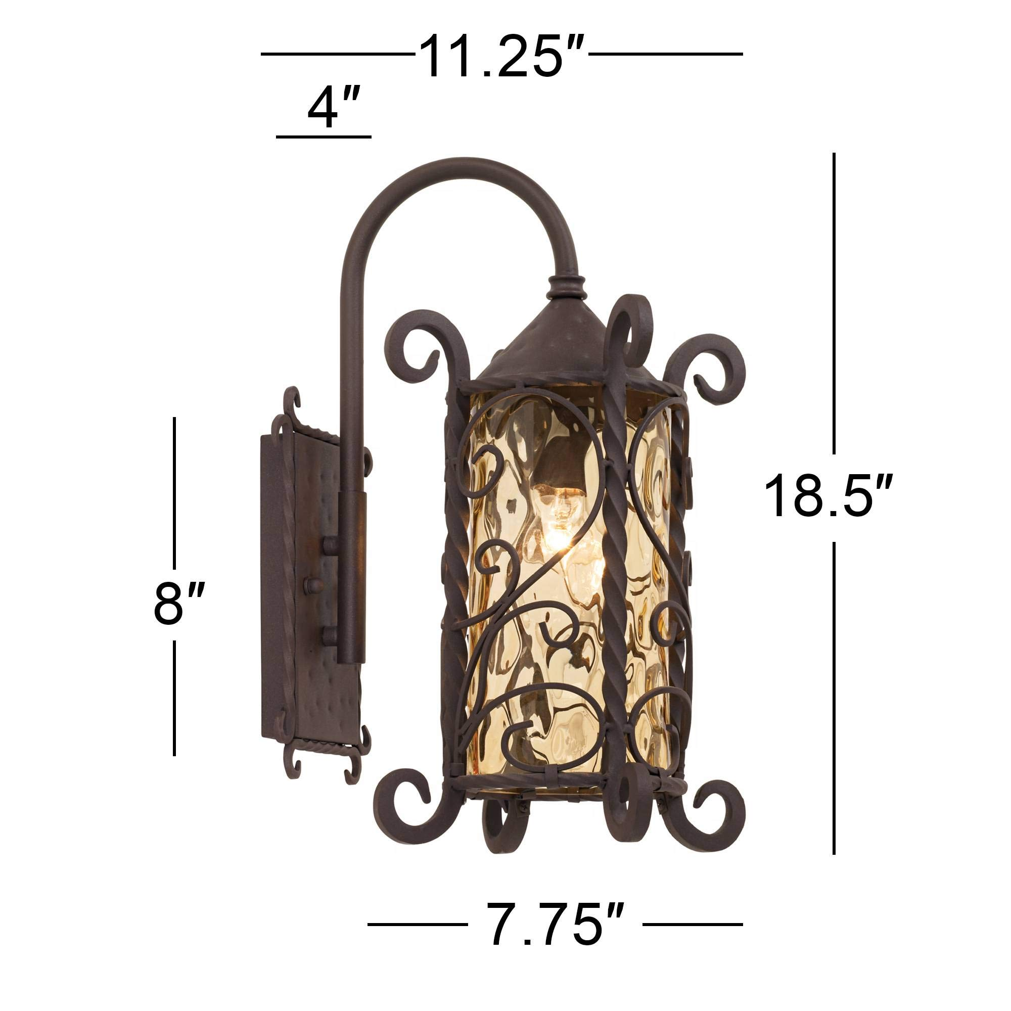 Casa Seville Rustic Outdoor Wall Light Fixture Mediterranean Inspired Dark Walnut Iron Twists 18 1/2'' Champagne Hammered Glass for Exterior House Porch Patio Deck - John Timberland by John Timberland (Image #6)