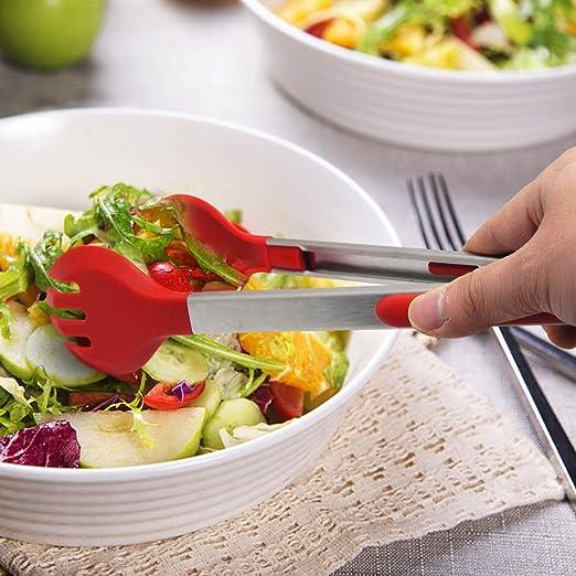 Pinzas de ensalada y pinzas para cocina, barbacoa, parrilla de cocina, doble 30,48 cm, silicona de calidad permiana y acero inoxidable Salad Tong rosso: ...