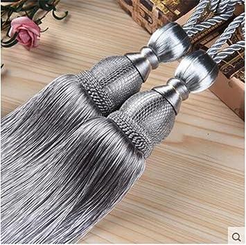 Grey IHC Handmade Curtain Clips Rope Tie Band VS Lob Fring Tiebacks Europe Buckles Holdbacks Tassel Ball Rope//Set of 2