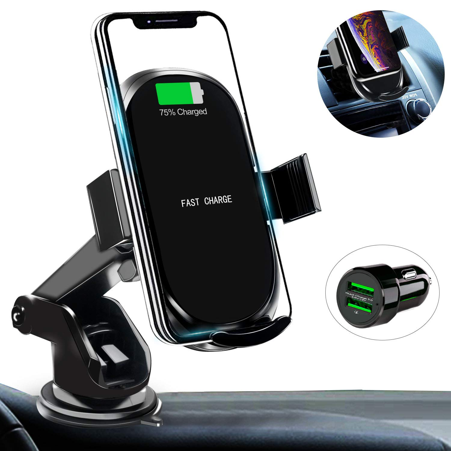 Car Wireless Charger Mount with USB Car Charger Adapter Qi Fast Charging Car Phone Holder Compatible with iPhone Xs/Xs Max/XR/X/ 8/8 Plus Samsung Galaxy S10 /S10+/S9 /S9+ by Amerzam