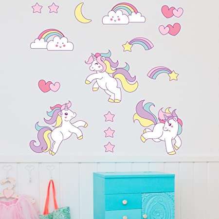 Booizzi cute unicorn rainbow colour wall sticker set child bedroom decor