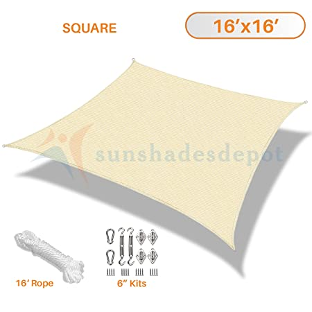 Sunshades Depot 16 x 16 Beige Sun Shade Sail with 6 Inch Hardware Kit 180 GSM Square UV Block Durable Fabric Outdoor Canopy – Custom Size Available