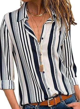 Aleumdr – Camisa de mujer con rayas de manga larga frontal con botones – Camiseta Top S-XXL