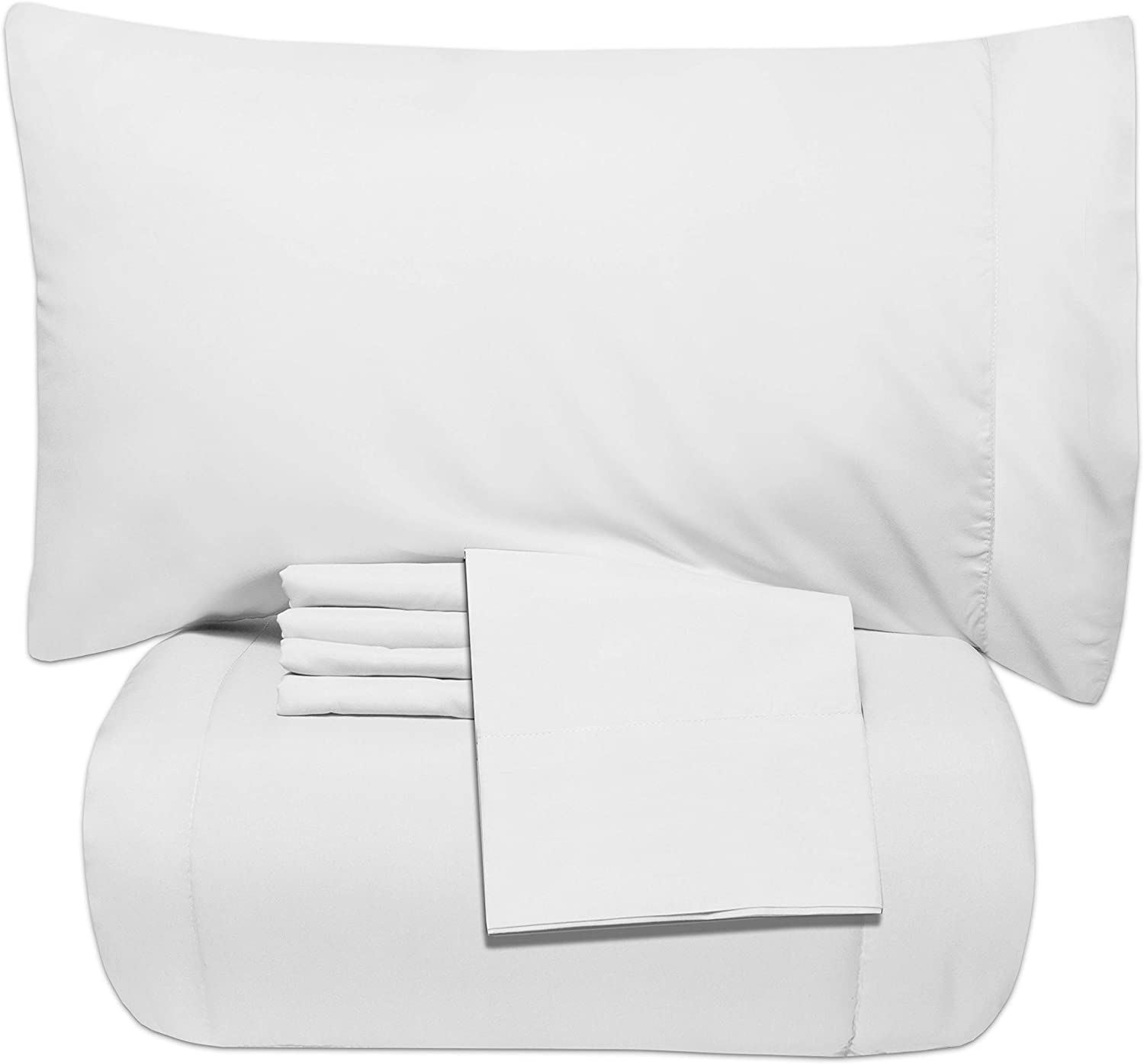 Sweet Home Collection 5 Piece Bag Comforter Set Solid Color All Season Soft Down Alternative Blanket & Luxurious Microfiber Bed Sheets, Twin, White, 7