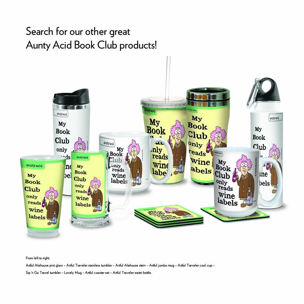 Tree-Free Greetings VB47792 Aunty Acid Artful Traveler Stainless Steel Water Bottle Book Club 18-Ounce