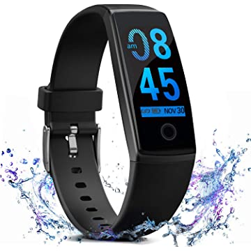 FITVII Fitness Tracker Waterproof Activity Tracker with Heart Rate Blood Pressure Monitor, Color Screen Smart Bracelet with Sleep Tracking Calorie Counter, Pedometer Watch for Women Men
