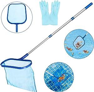 Swimming Pool Skimmer, Homga Fine Mesh Pool Net Heavy Duty Deep Bag Leaf Rake with Aluminum Telescopic Pole for Garden Pond, Hot Tub and Spa