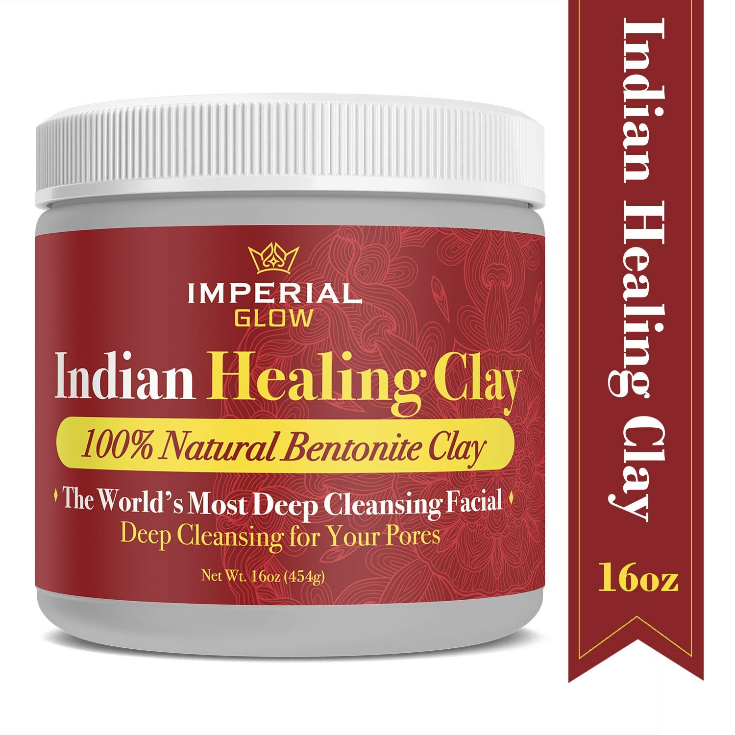 Indian Healing Clay 1 Lb, Deep Pore Cleansing Face and Body Mask, Calcium Bentonite Clay Powder, Therapeutic Grade - 100% Natural & Organic Red Clay Detox Mask