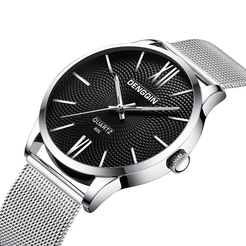 Staron  Men's Watches Luxury Fashion Analog Casual Dress 12-Hour Dial Sport Military Quartz Stainless Steel Dial Wrist Watches for Men Milanese Mesh Band (D)