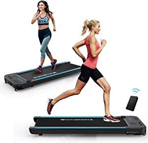 CITYSPORTS Treadmills for Home, Under Desk Treadmill Walking Pad Treadmill with Audio Speakers, Slim & Portable Treadmill with Remote & Dual LED Display, Office & Home Treadmills Dual Purpose