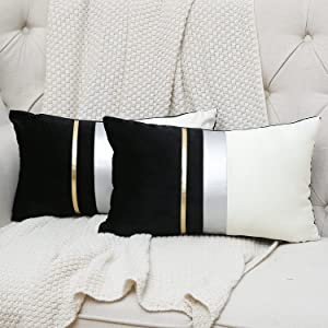 Kiuree Set of 2 12x20 Inch Black Patchwork Velvet Lumbar Pillow Cover with Gold Striped Leather Cushion Cases Modern Luxury Decorative Throw Pillowcases for Couch Sofa Bed (12