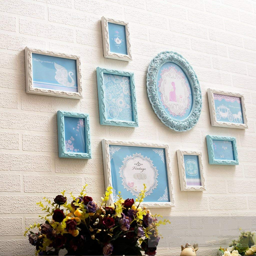 Der Photo Wall Photo Frame Wall Creative Photo Wall European Living Room Bedroom Picture Frame Wall Decoration Multi-map Combination (Color : Blue and White)