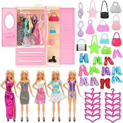 Barbie size Doll Closet Wardrobe 2 Gowns,3 Dresses,10Shoes,10 Bags,10 Necklaces