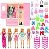 Barwa 36 Items for Barbie Dolls: 1 Wardrobe + 5 Clothes Dresses + 10 PCS Shoes + 10 Hangers + 10 Bags