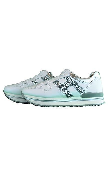 Hogan Junior Sneakers H222 BASSAIN Pelle Bianca E Argento