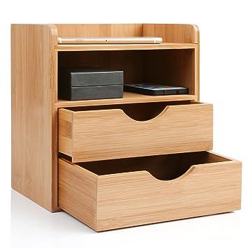 Bürobedarf ablagesysteme  HOMFA Schreibtisch Organizer 20x13x21cm Bambus Aufbewahrungsboxen ...